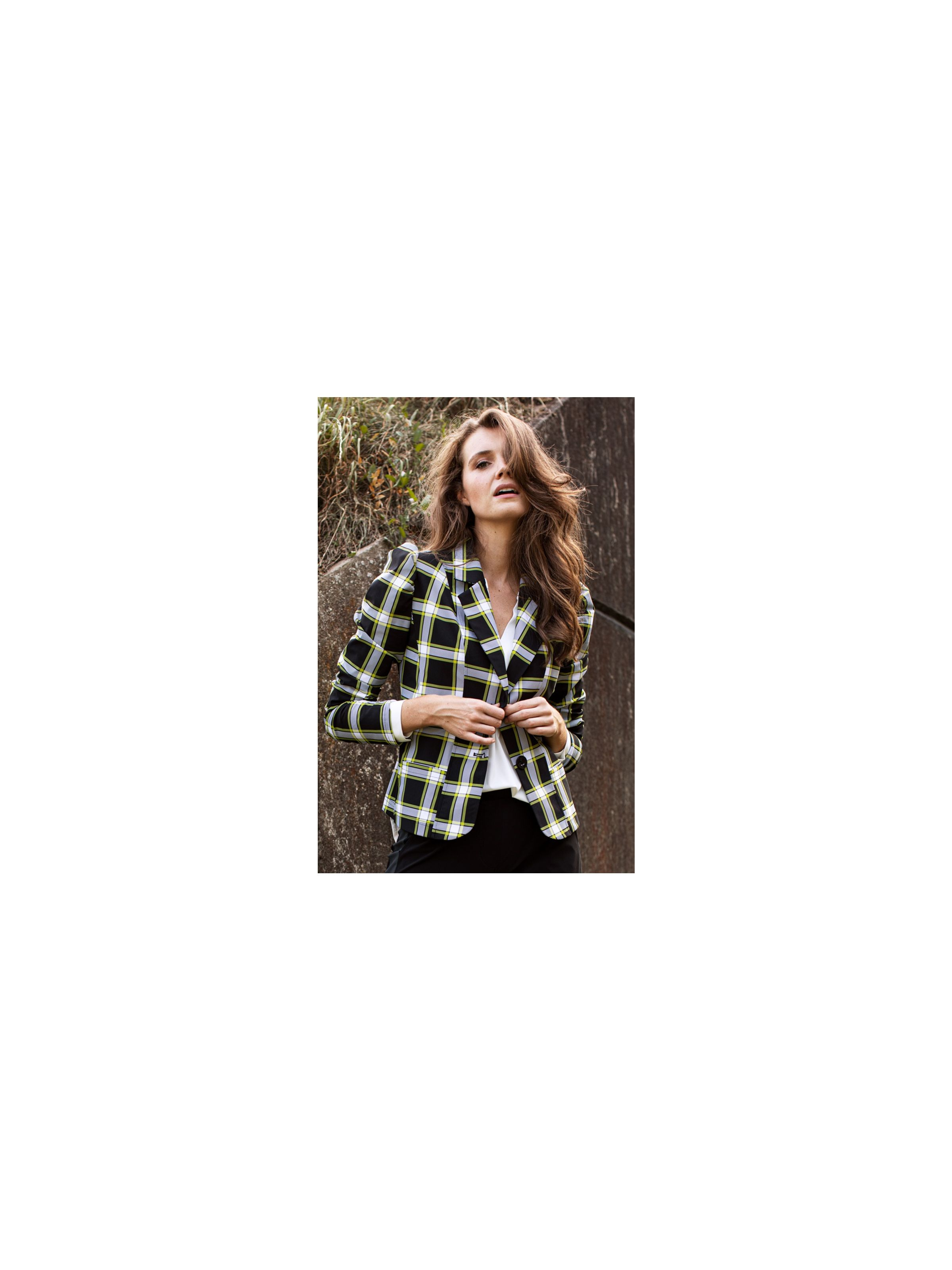 05062 Ronja Check Blazer BlackMossgreen