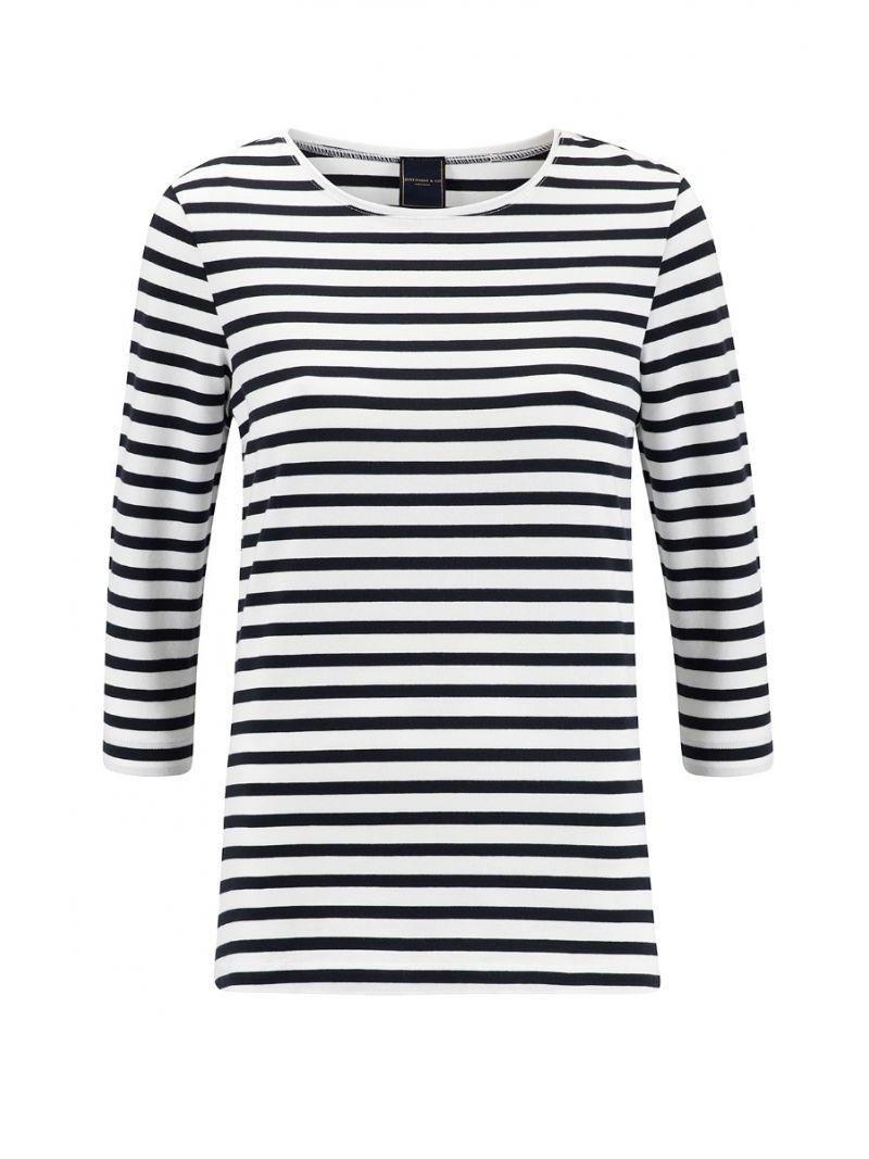 Bailee T- Shirt Streep - Wit/Donker Blauw