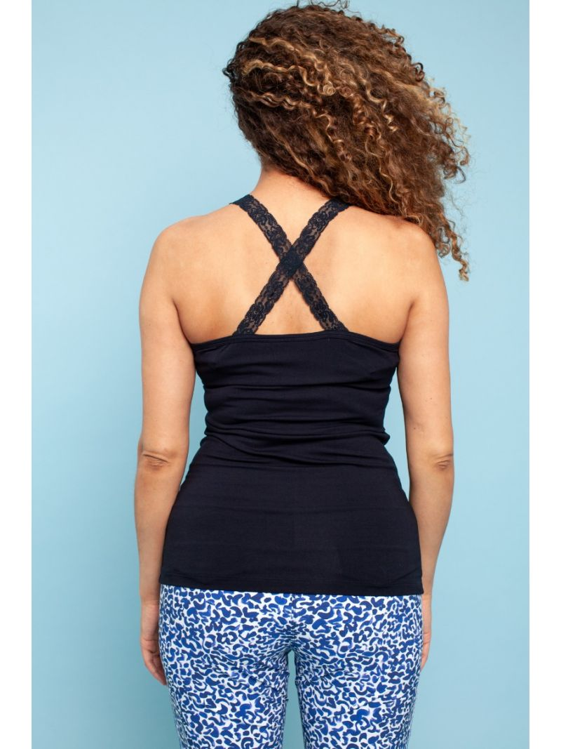 02711 Annabella Crossback Lace Top - Zwart