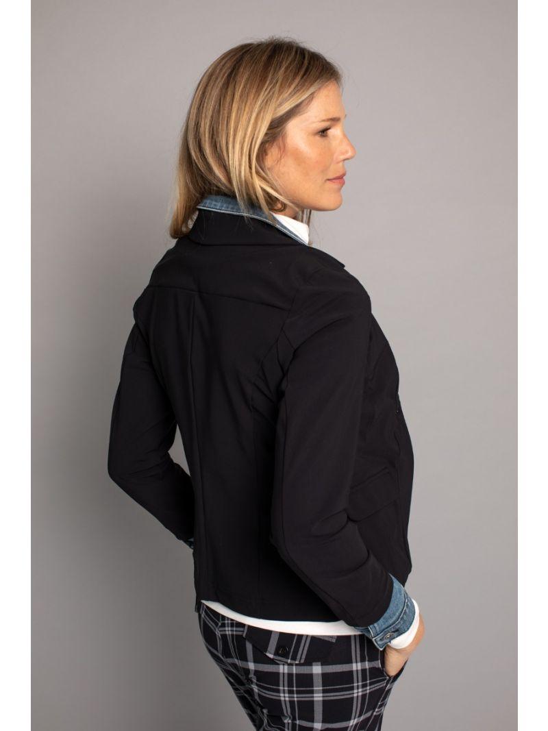 03651 Isa Jeans Combi Jacket - Zwart