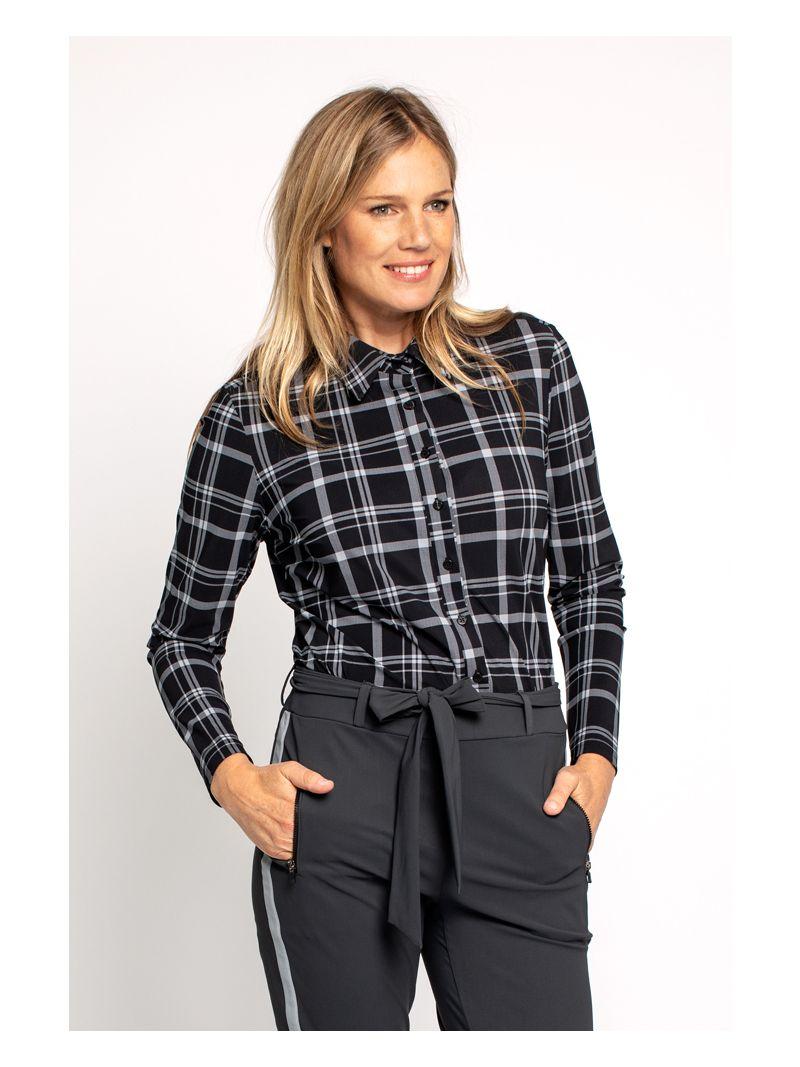 03660 Poppy Check Shirt - Zwart / Grijs