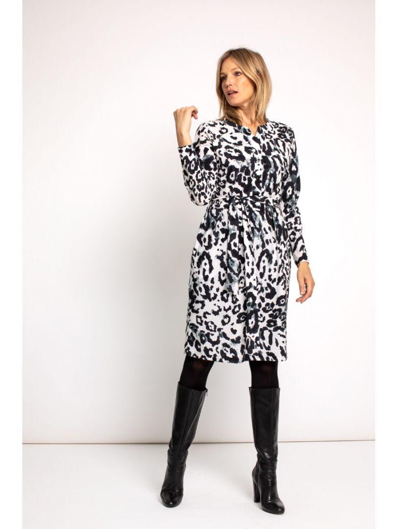 03668 Trees Animal Dress - Off White / Zwart