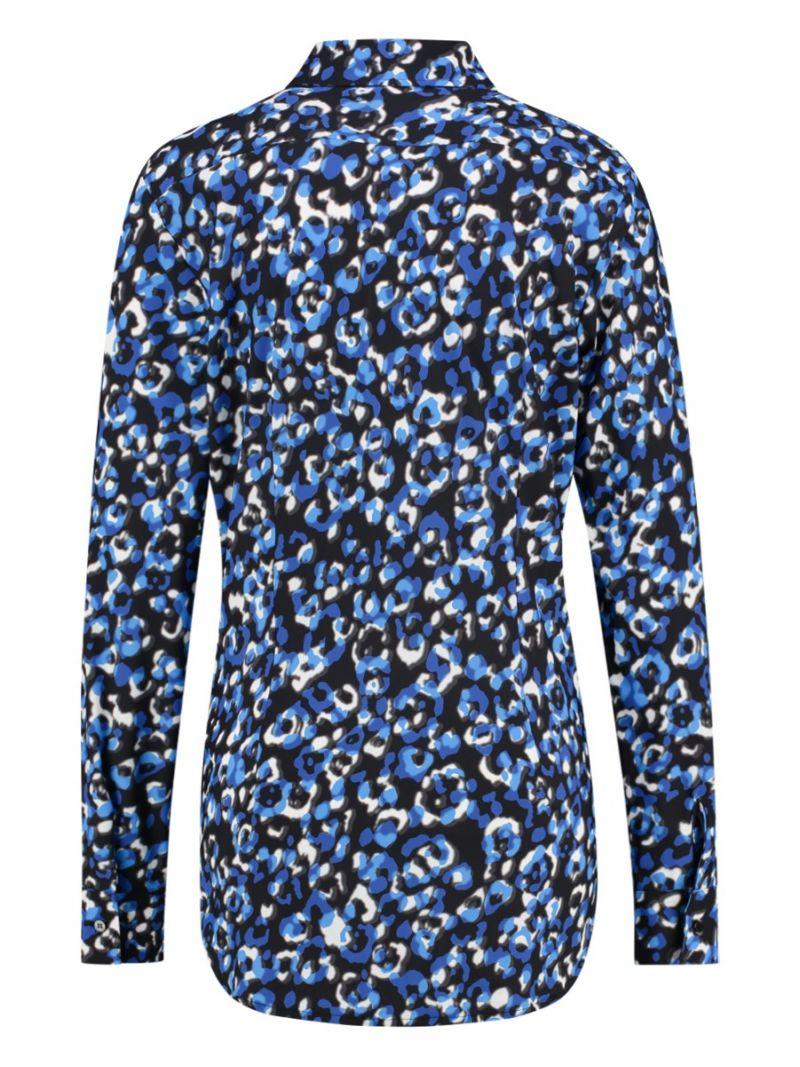 03670 Poppy Leo Blouse - Kobalt Blauw / Grijs