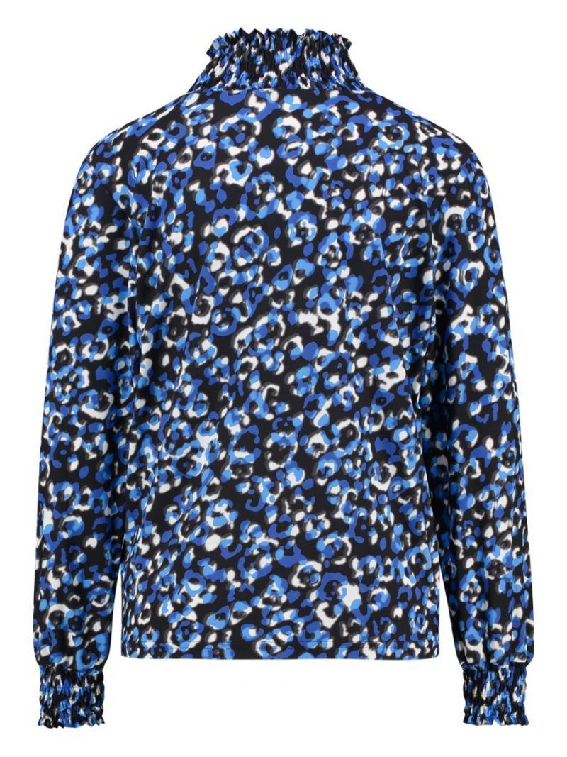 03671 Zel Leo Smoq Travel Blouse - Kobalt Blauw / Grijs