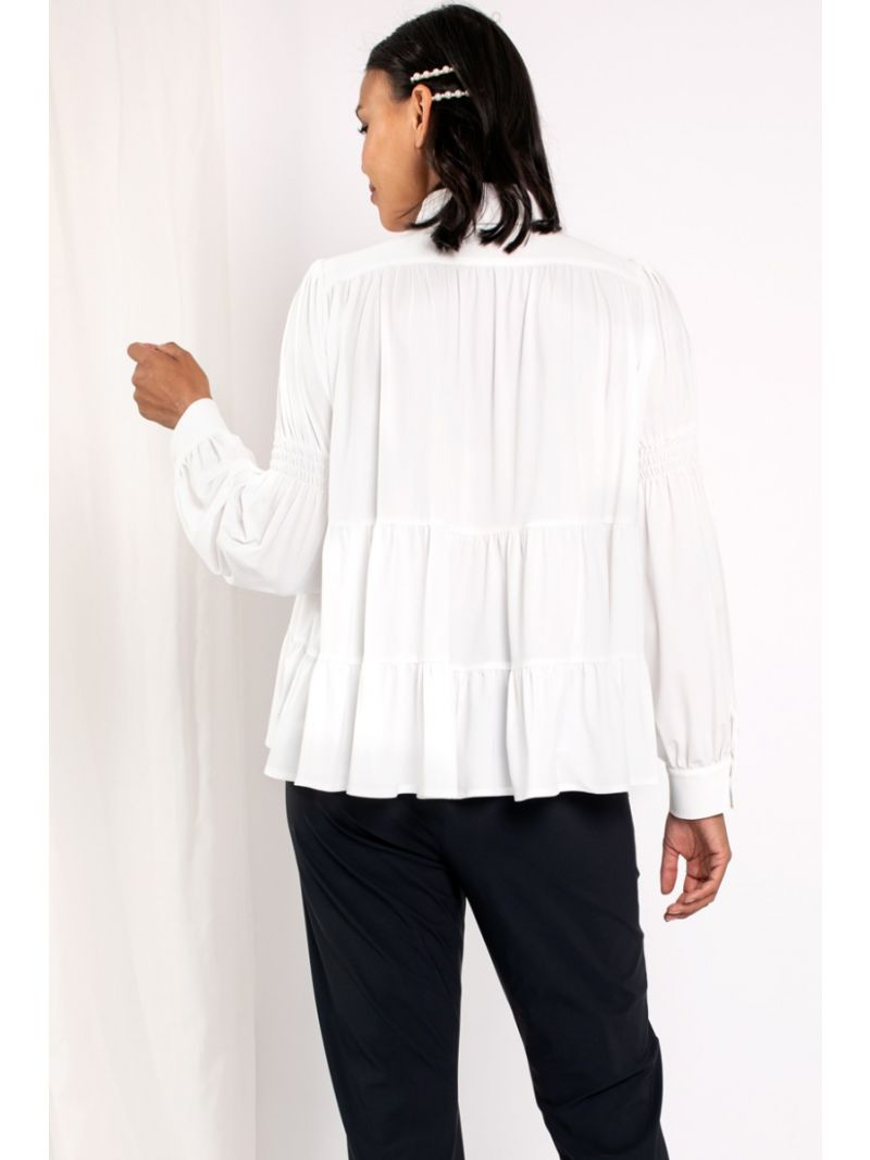 03824 Alana Smoq Blouse - Off-White