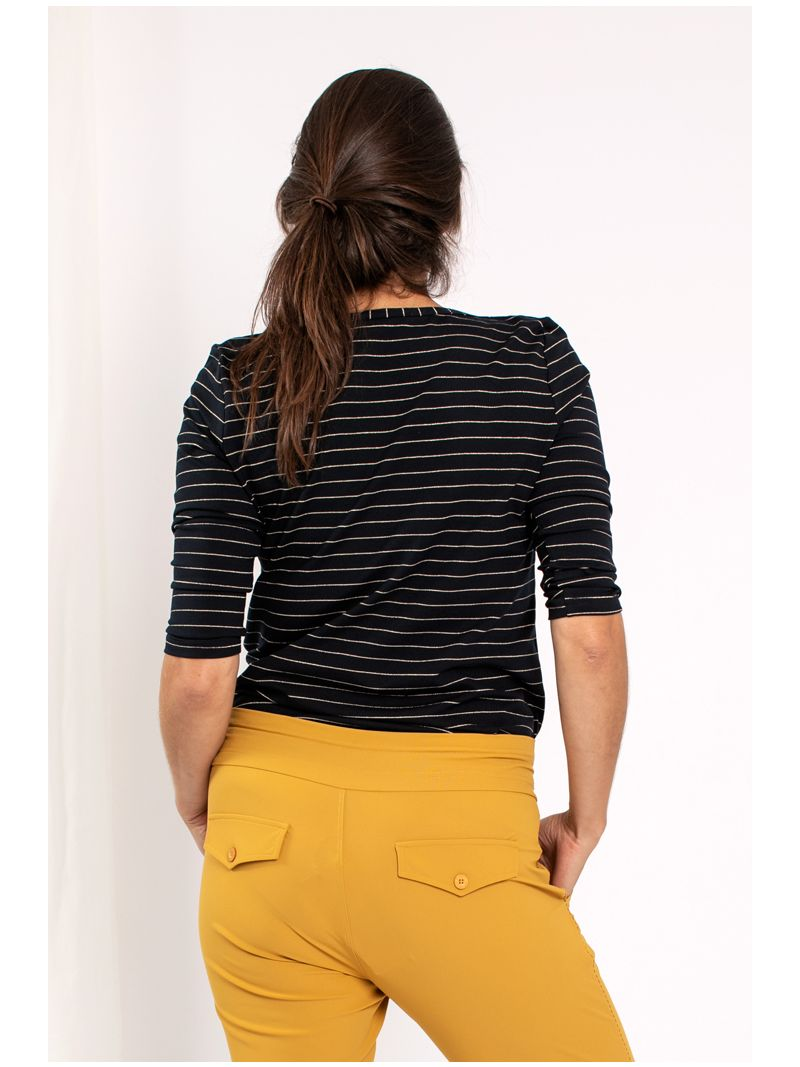 03859 Flavia Thin Stripe - Navy/Gold