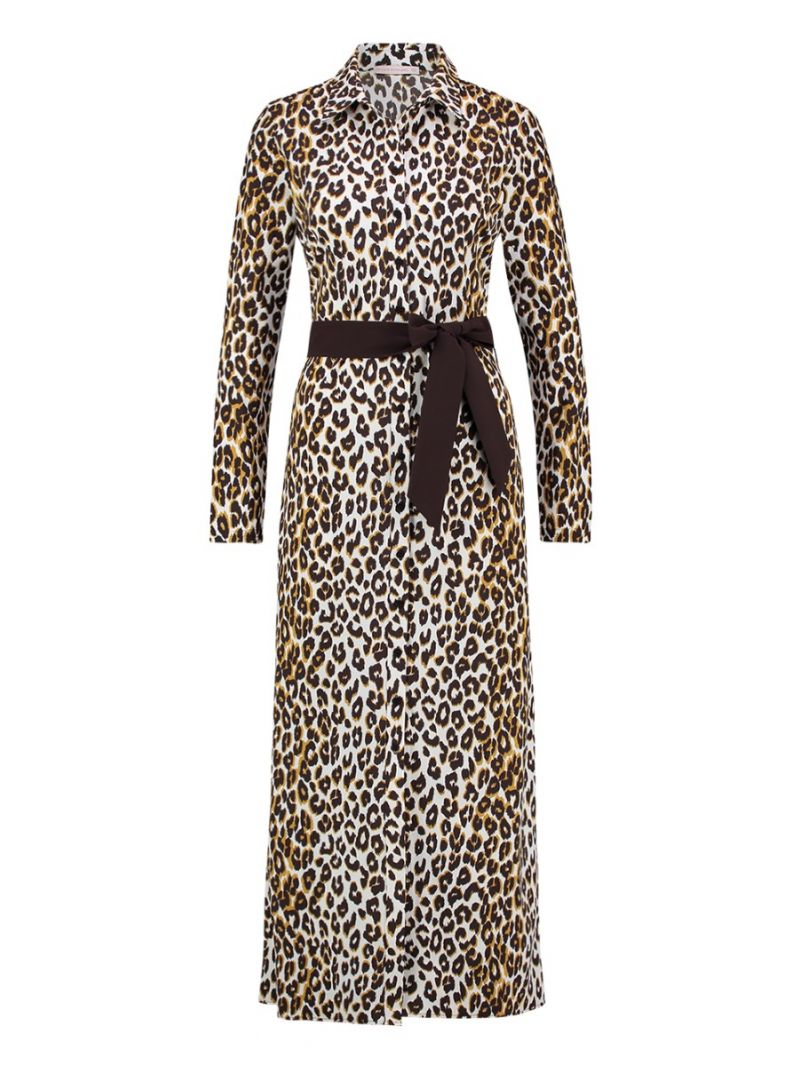 03871 Yara Leopard dress - Off White / Goud
