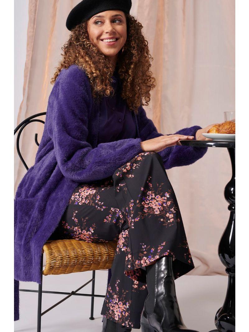 03950 Marilyn Flower Trousers - Black/Oyster