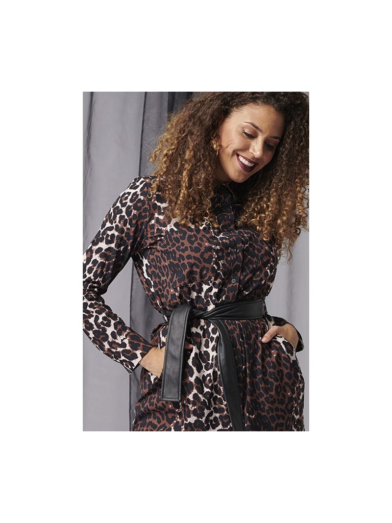 03961 Loopy Leopard Blouse - Oyster/Black