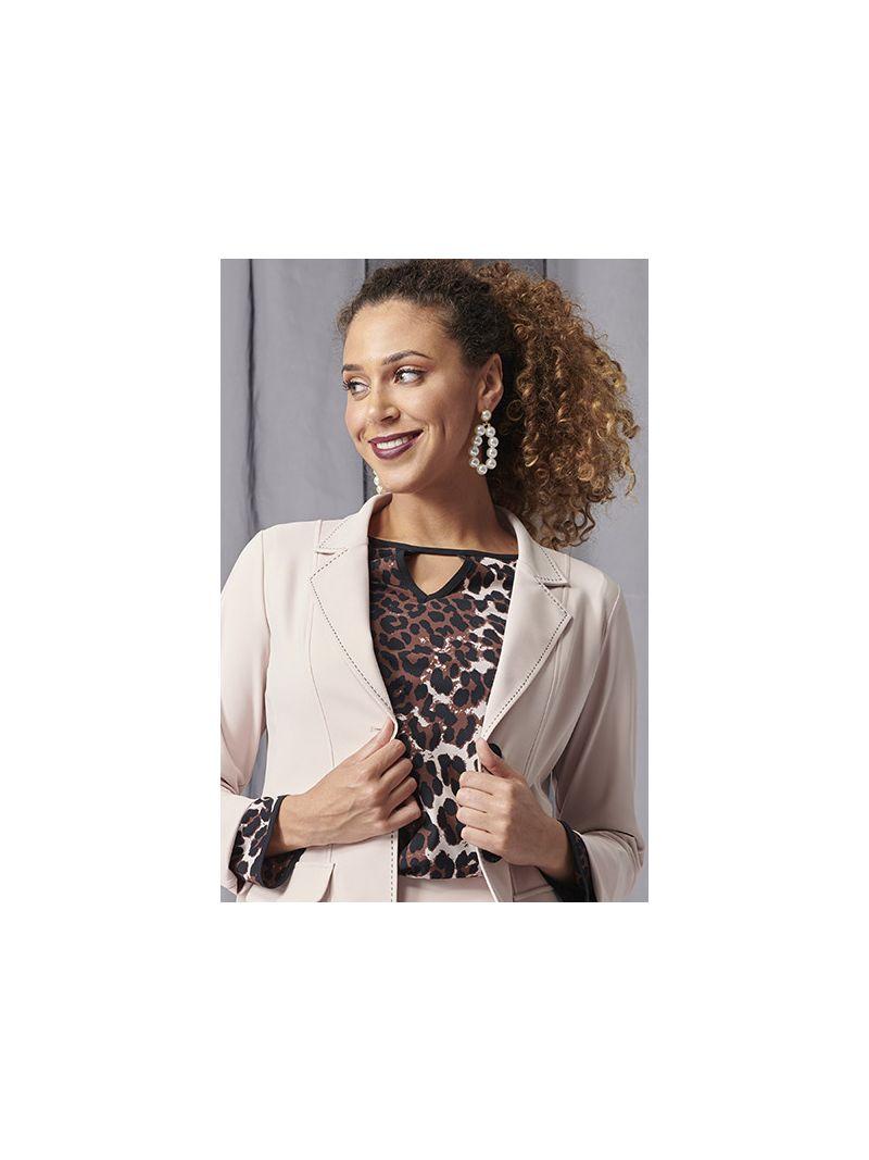 03962 Beau Leopart Shirt - Oyster/Black