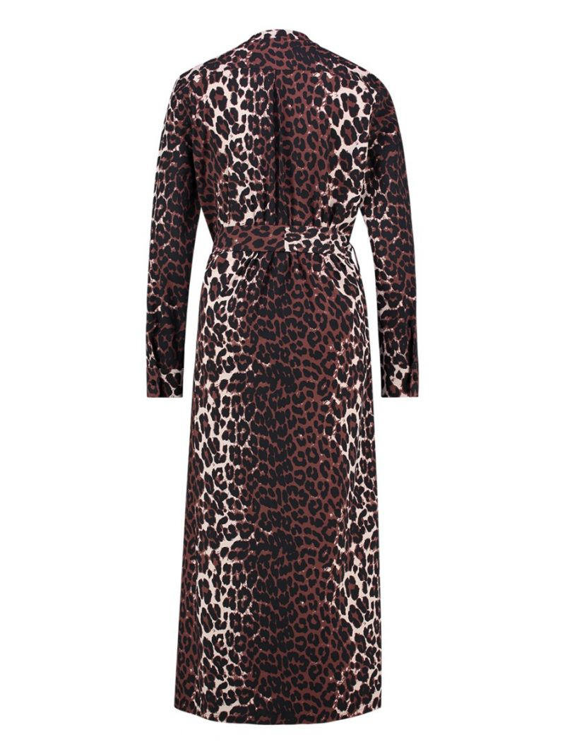 03963 Veronique Leopard Dress - Oyster/Black