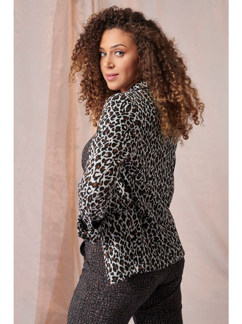 03971 Belissa Leopard Blazer - Black/Copper