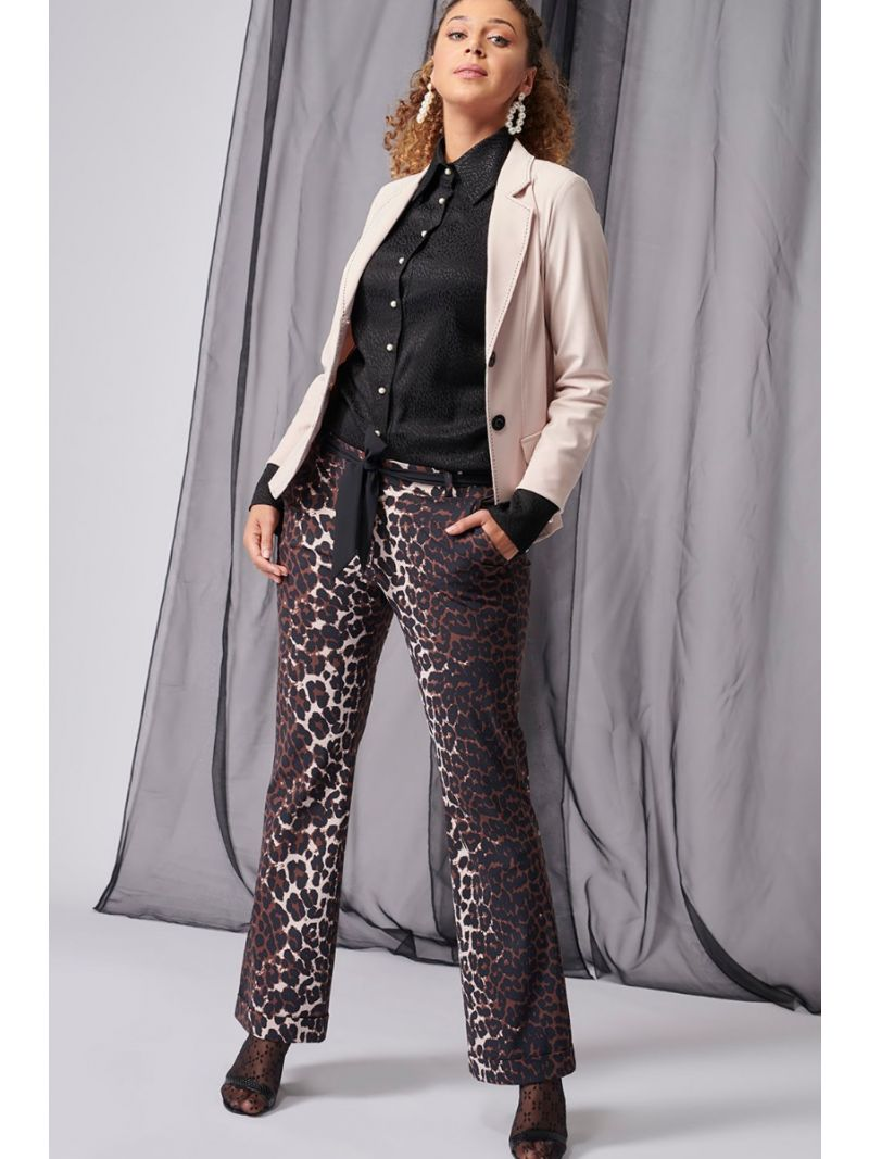 03983 Flair Leopard  Trousers - Oyster/Black