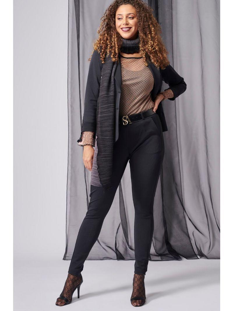 03992 Brigitte Shiny Bonded Trousers - Zwart