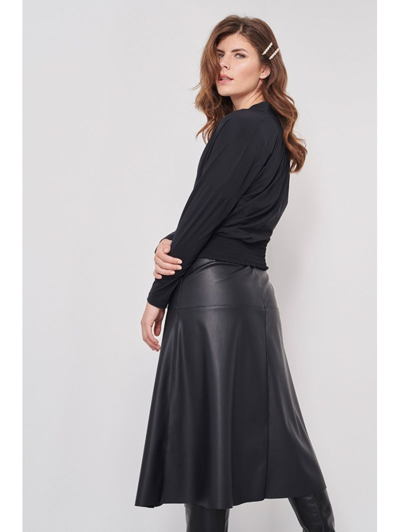 04017 Penny Dull Leather Skirt - Zwart