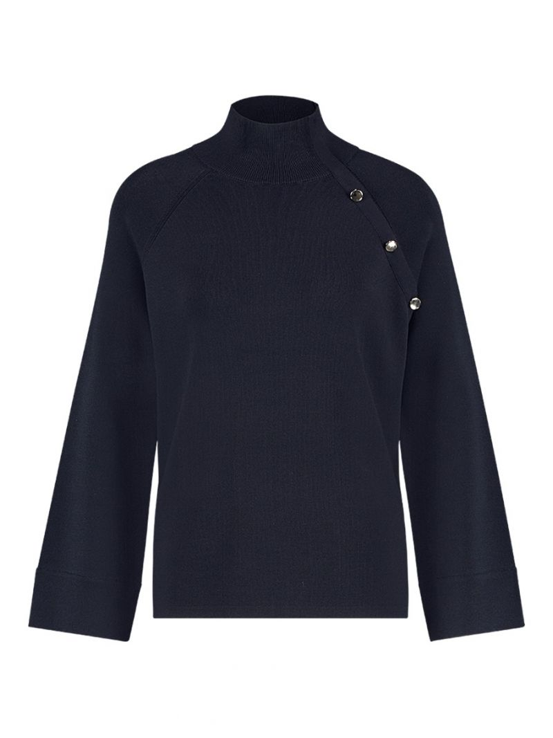 04041 Momo Button Pullover - Donker Blauw