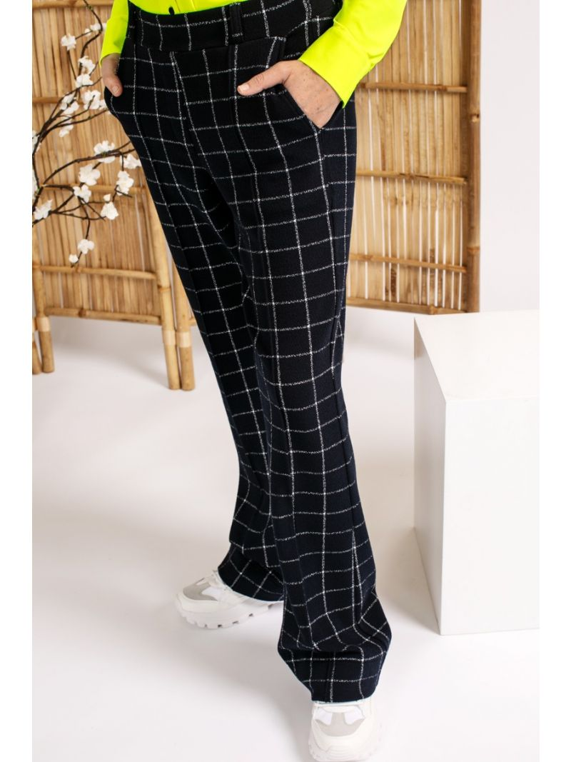 04076 Flair Check Trousers - Donker Blauw