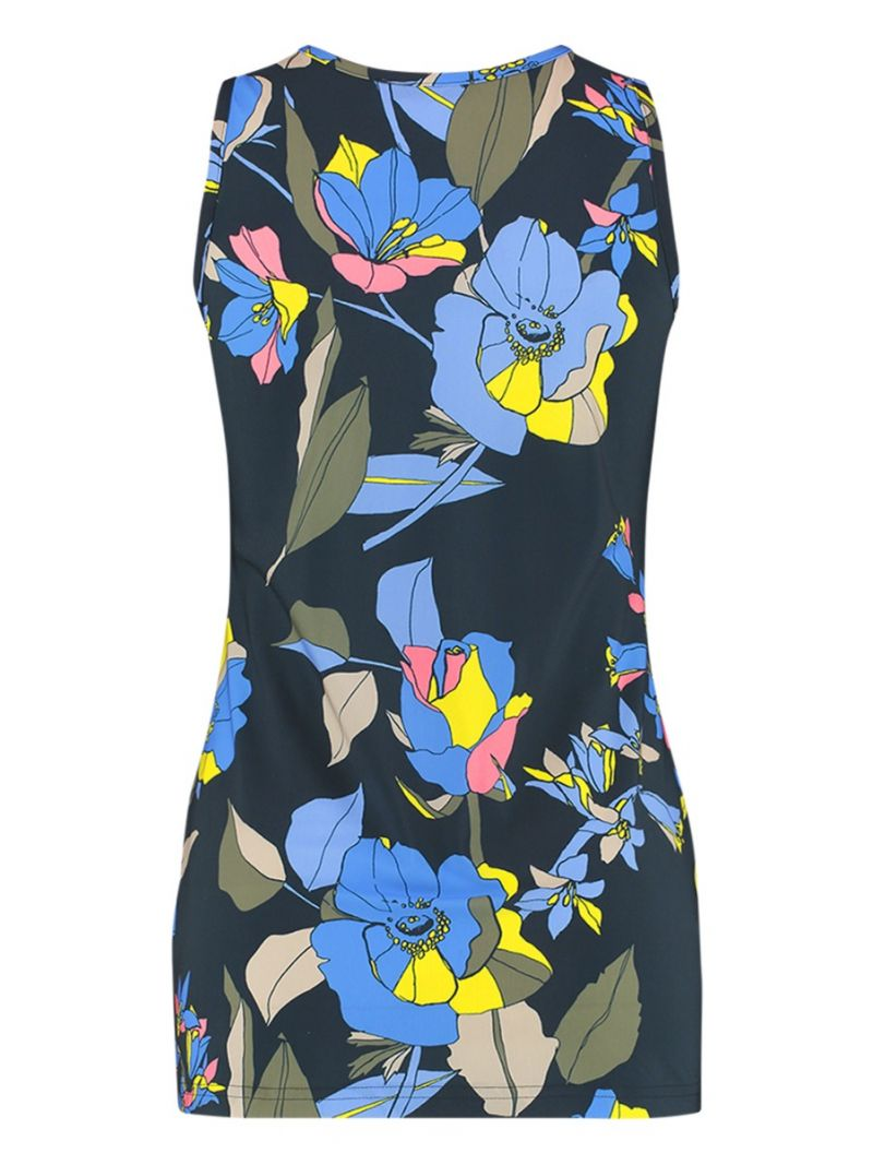 04092 Ready Flower Travel Top - Donker Blauw