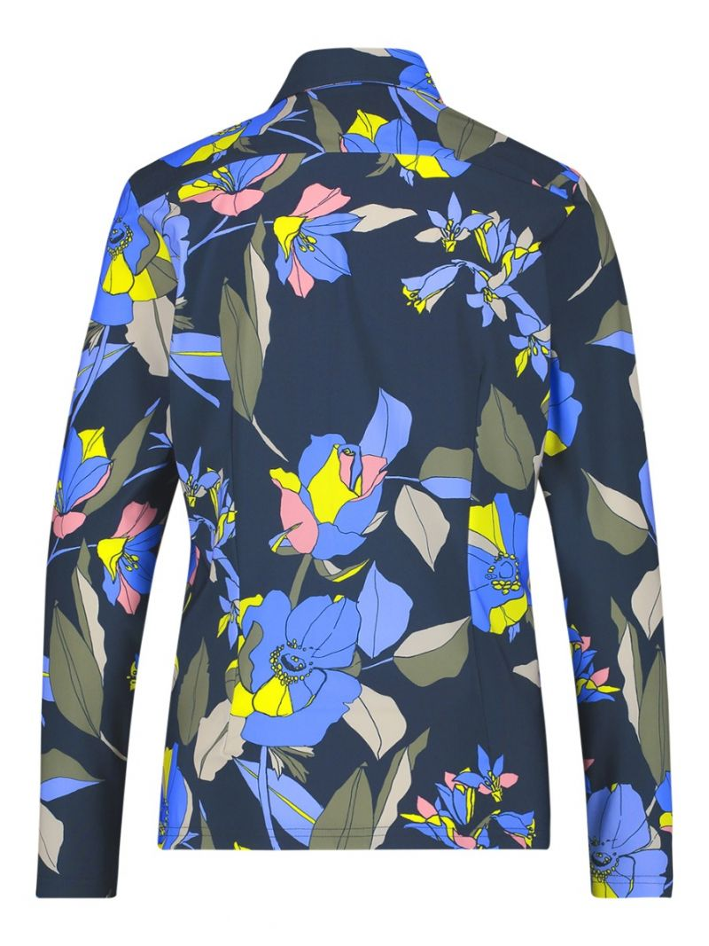 04093 Poppy Flower Shirt - Donker Blauw