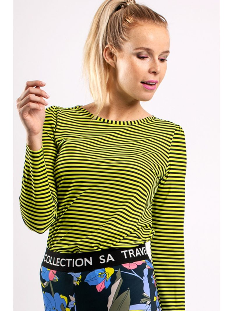 04097 Flavia Stripe Shirt - Donker Blauw / Neon Geel