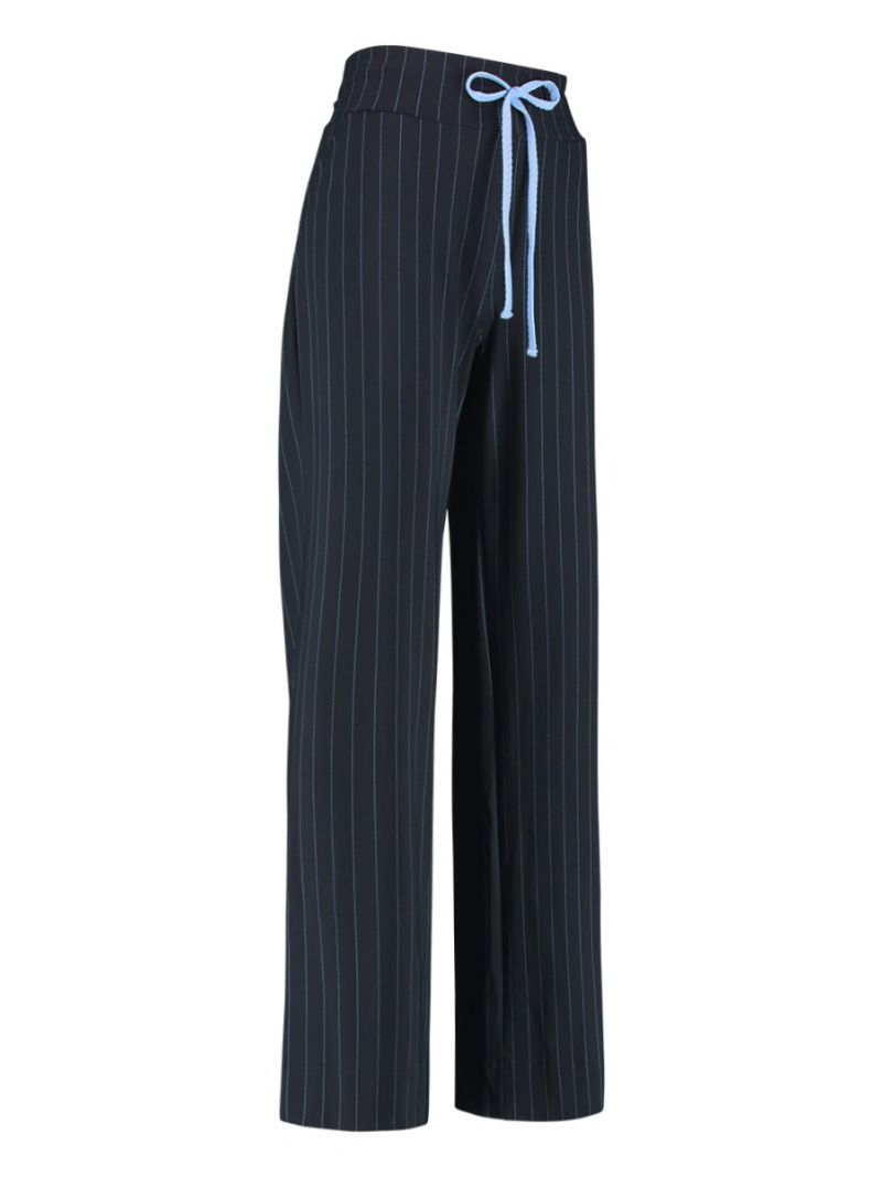04102 Maria Pinstripe Travel Trousers - Donker Blauw
