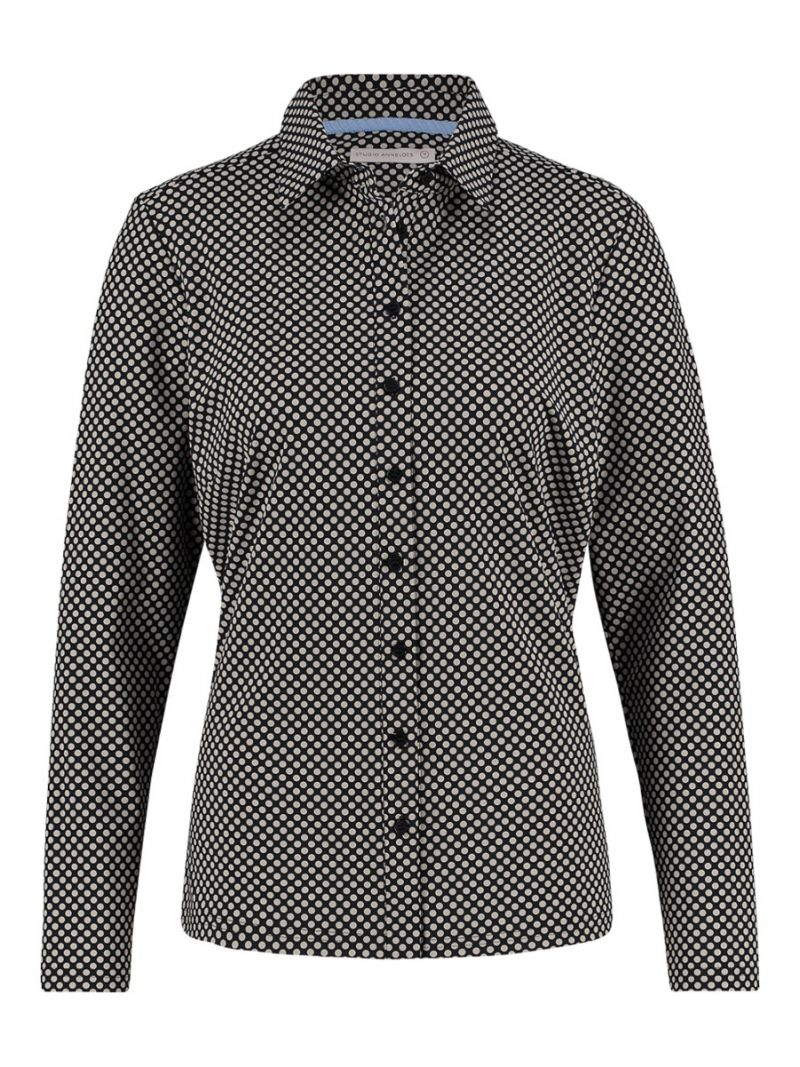 04105 Poppy Small Dot Travel Shirt -  Donker Blauw / Zand