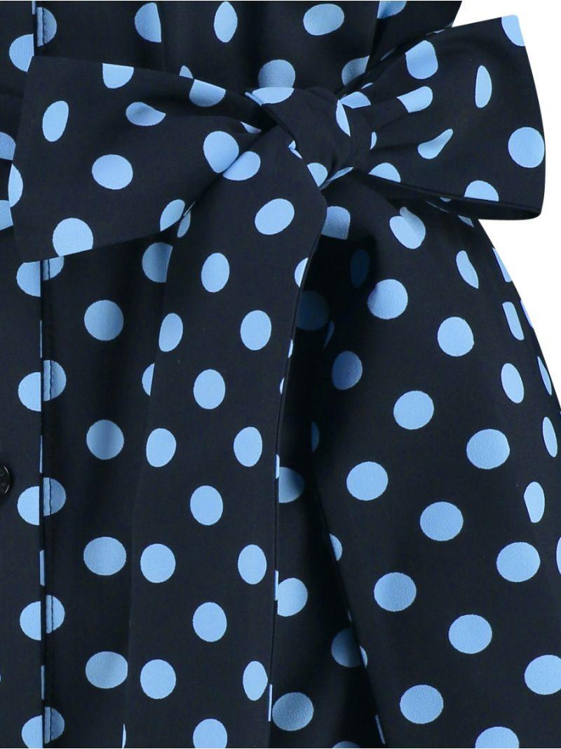 04109 Loopy Dot Tuniek Blouse - Donker Blauw / Licht Blauw