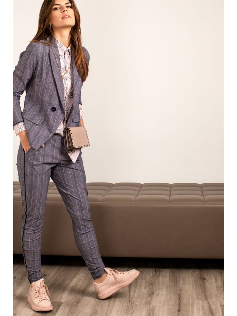 04156 Flo Herringbone Trousers - Black / Oyster
