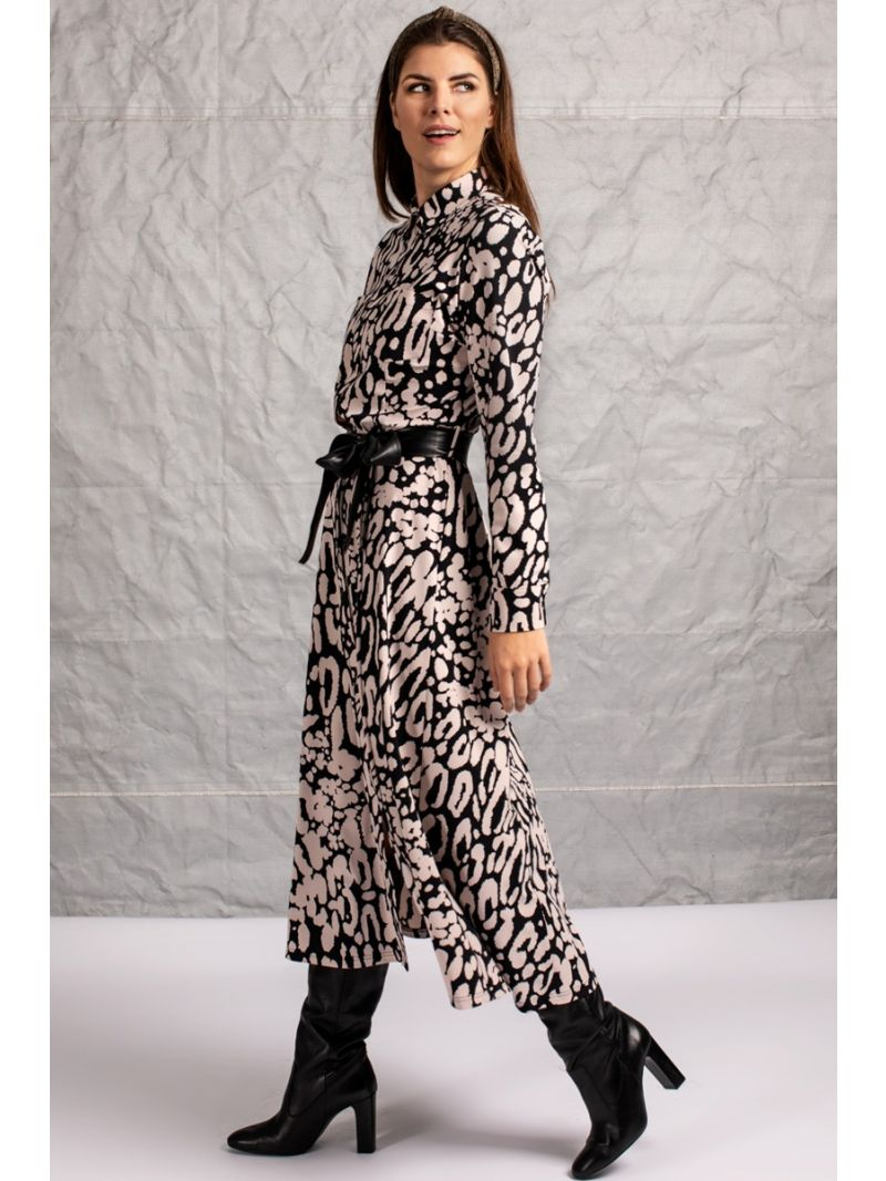 04159 Indy Animal Dress - Black / Oyster