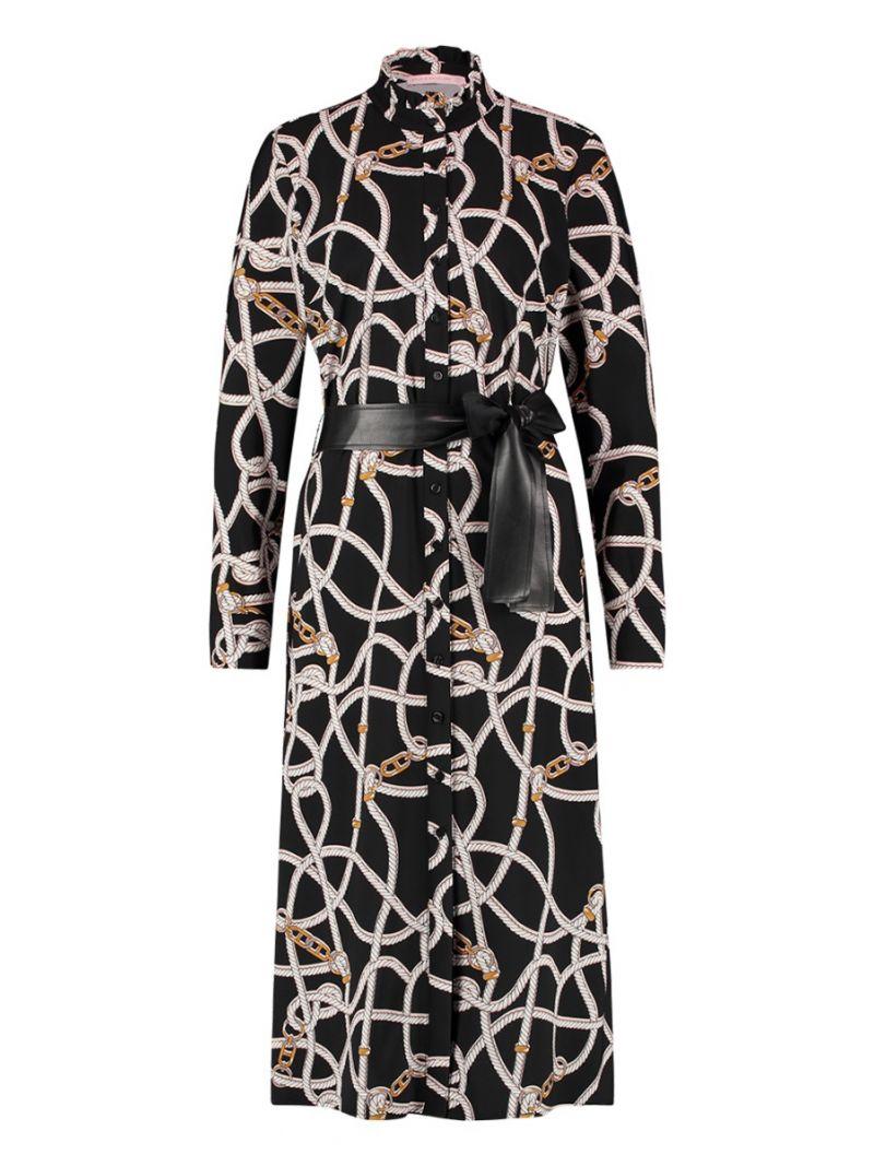 04161 Regent Chain Dress - Zwart / Ecru