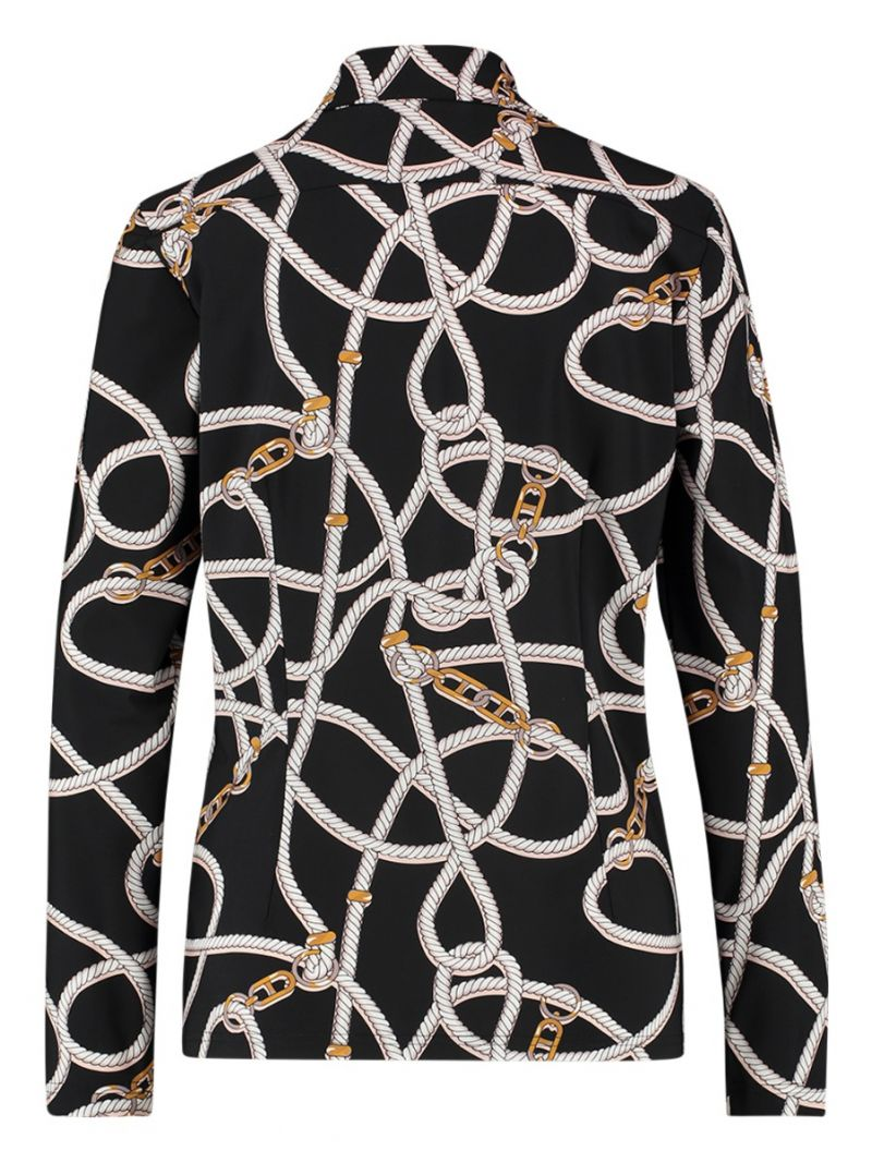 04163 Poppy Chain Travel Shirt - Zwart / Ecru