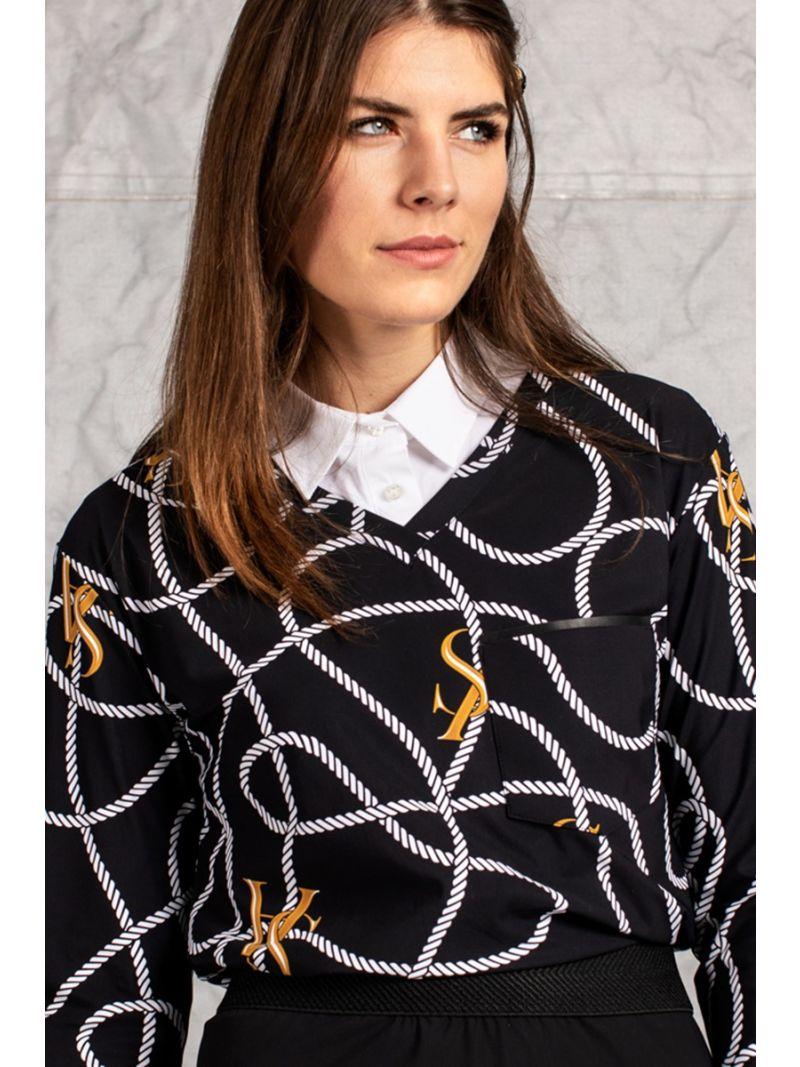 04169 Roller SA Chain Shirt - Zwart / Ecru