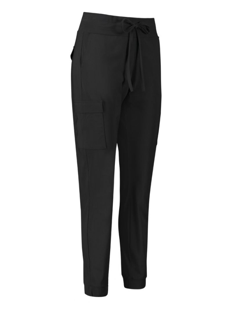 04198 Loose Fit Cargo Travel Trousers - Zwart