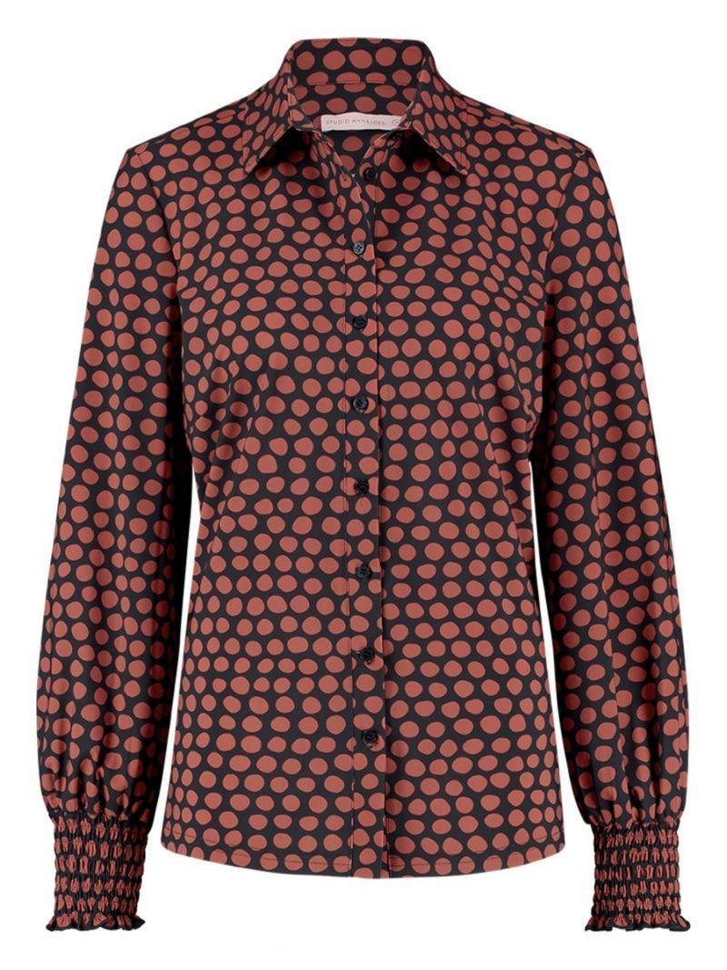 04235 Poppy Dot Smoq Shirt - Donker Blauwe / Terra