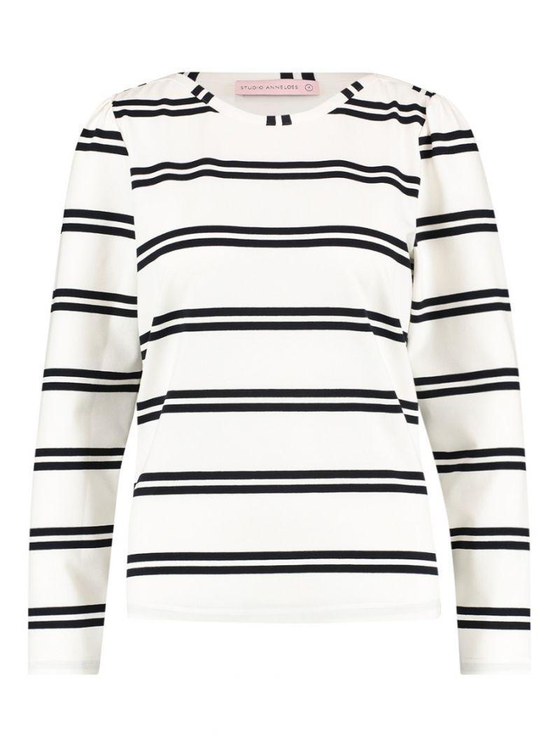 04268 Flavia Stripe Shirt - Wit/Donker Blauw