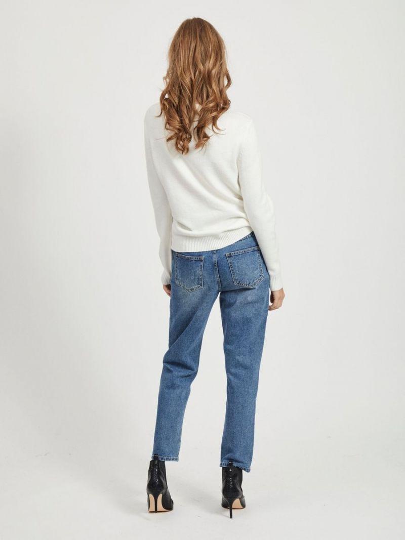 Gebreide Pullover met Ronde Hals - Off White