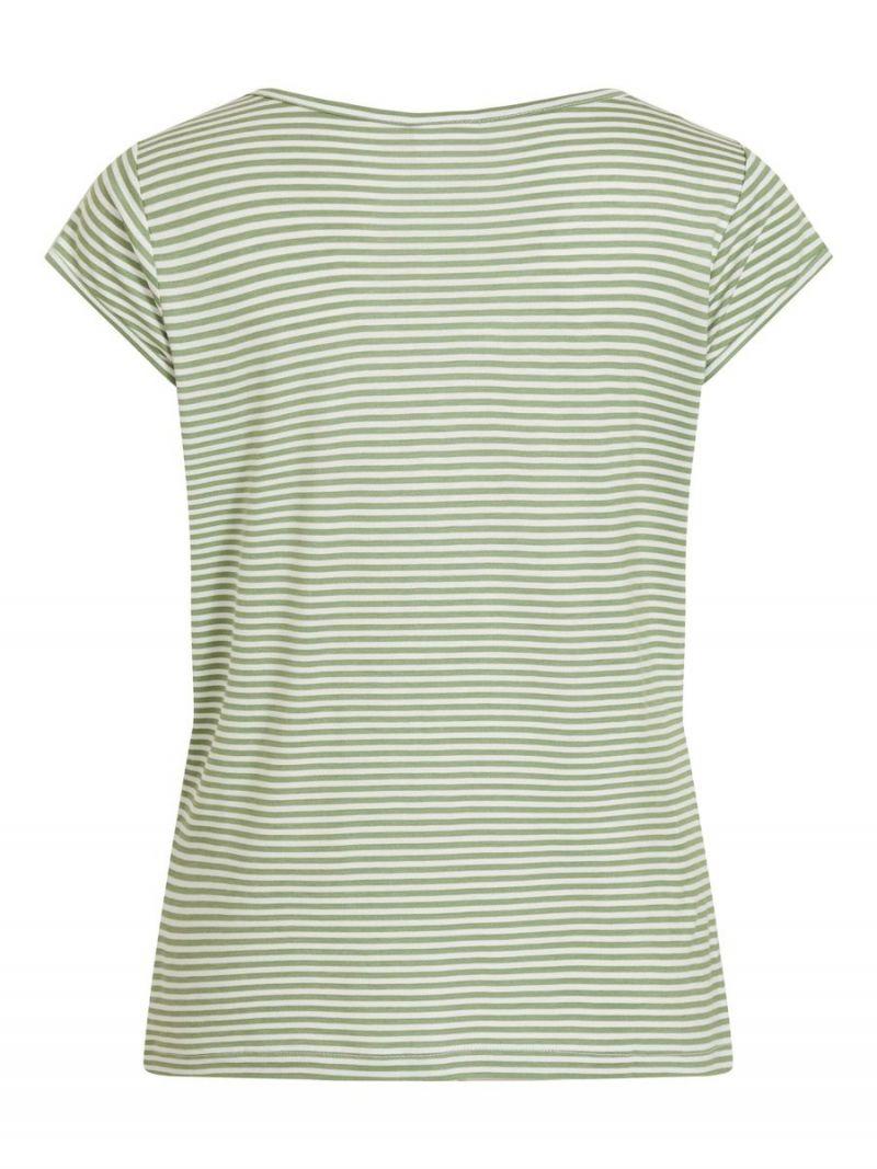 Basic T-Shirt Streep met V-Hals - Groen