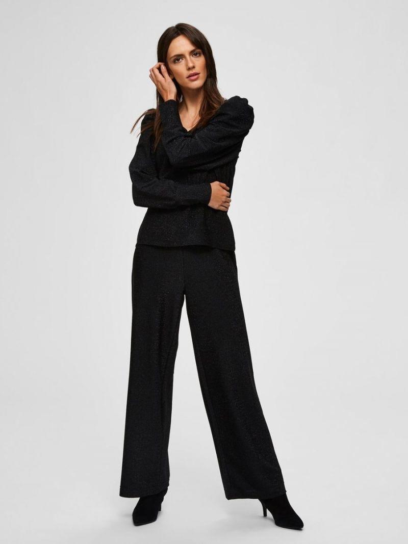 Glitter Pullover met V-Hals - Zwart