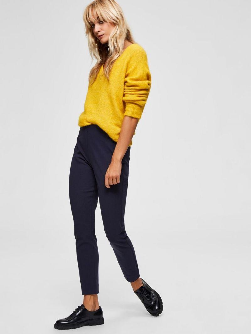 Cropped Slim Pant Nachtblauw