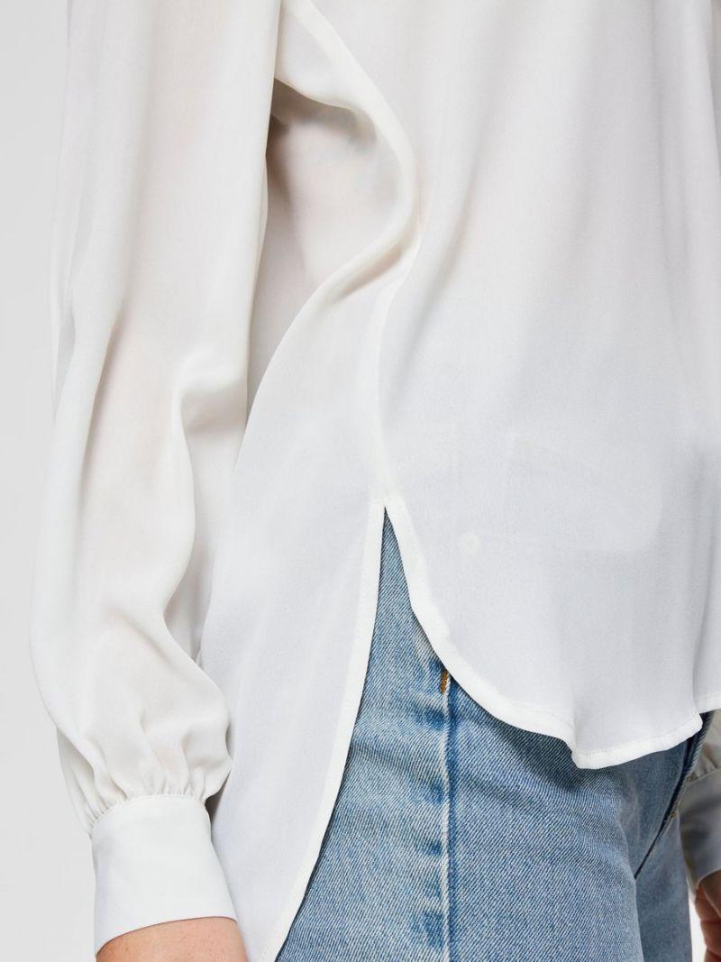 Voile Blousje met V-Hals - Off White