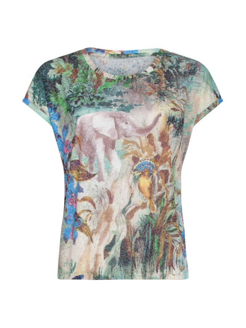 20278 T-Shirt met Print - Zand/Groen