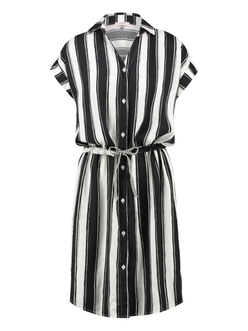 20370 Samantha Stripe Shirtdress - Off White/Zwart
