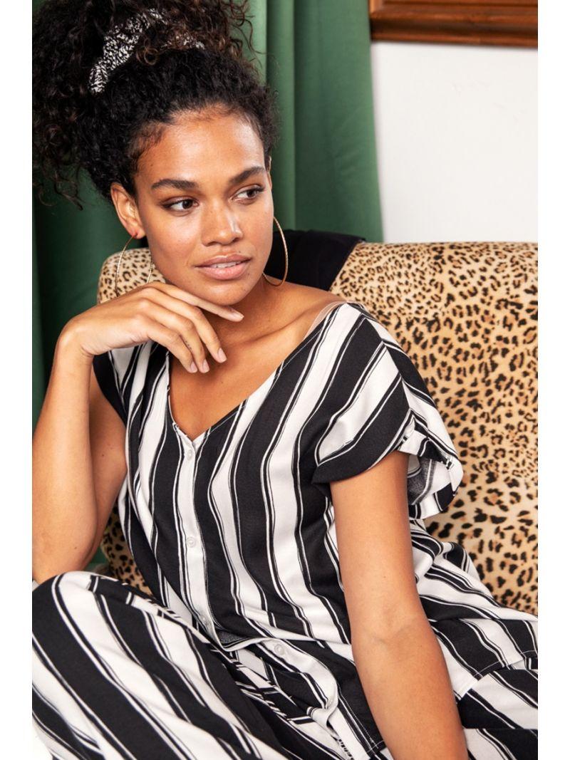 20371 Sis Stripe Top - Off White/Zwart