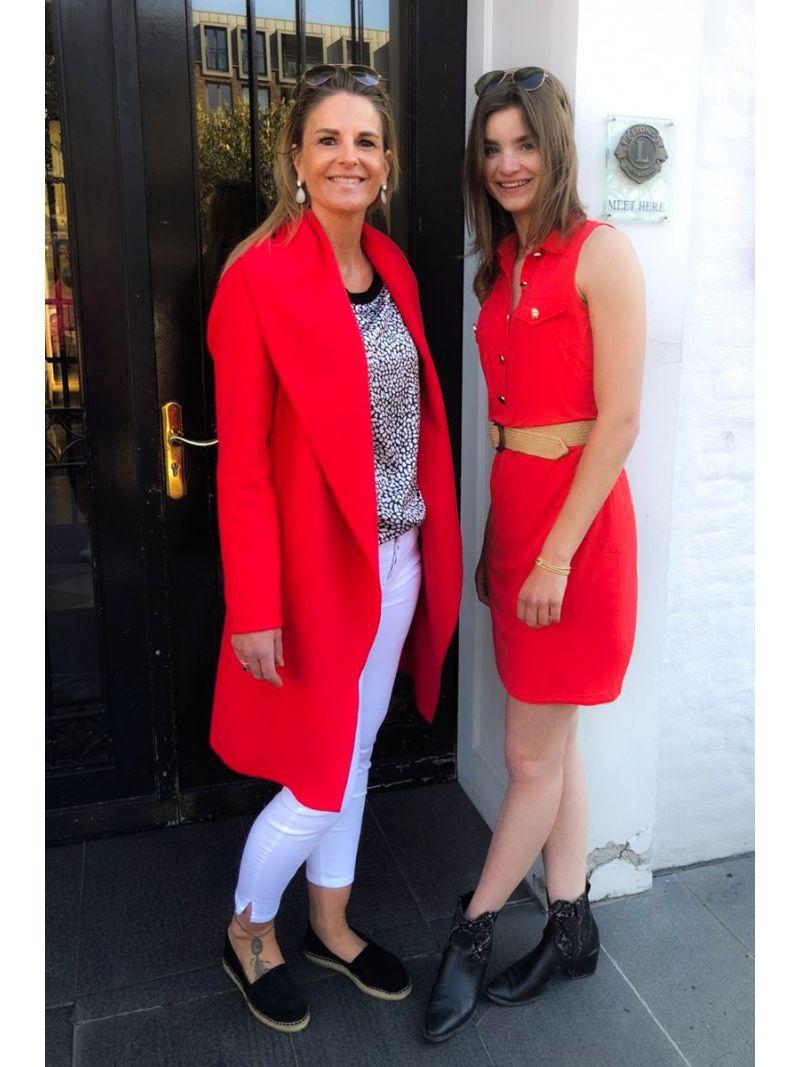 Q211 Mouwloos jurkje met kraagje - Rood