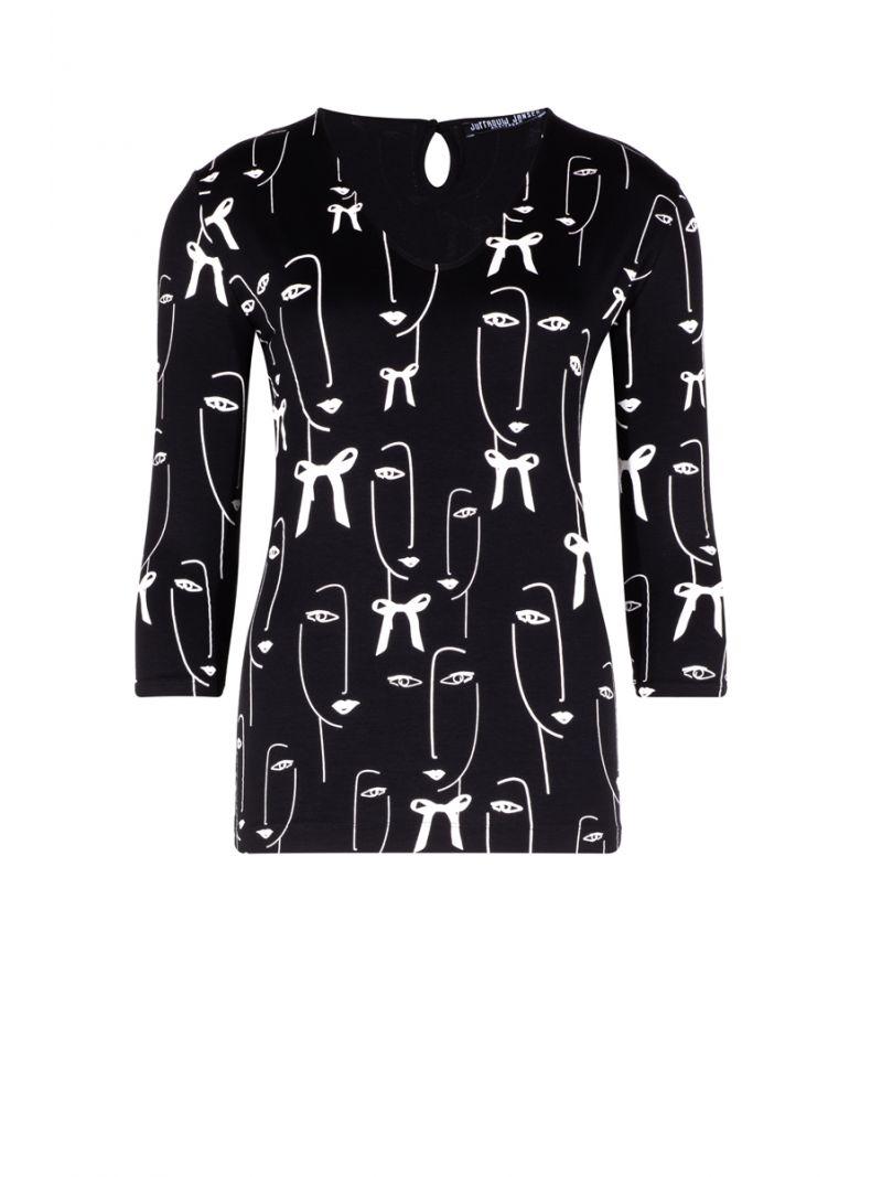 Shirt 3/4 Mouw met Print - Zwart