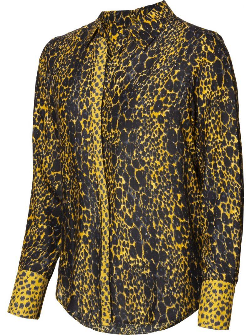 Leopard Blouse - Zwart / Okergeel