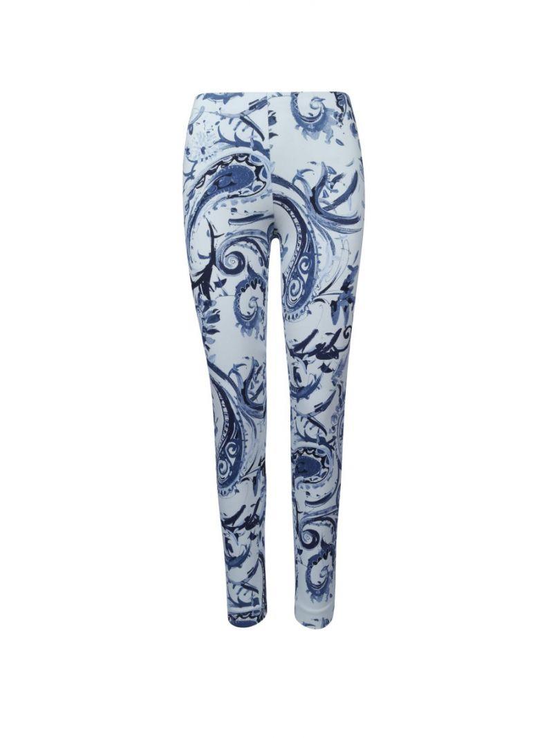 Print Stretch Pant - Blauw