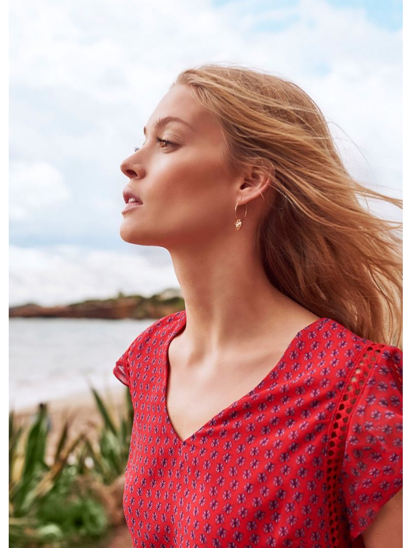 Voile Print Top-Roesmouwtje