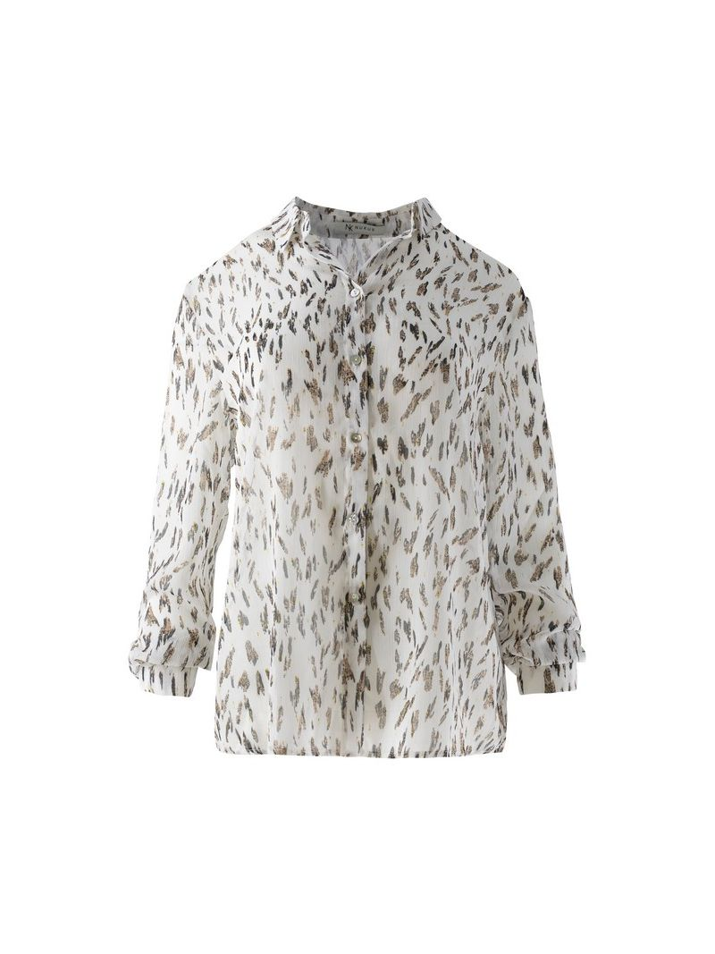Carly Voile Print Blouse Wit/Zand