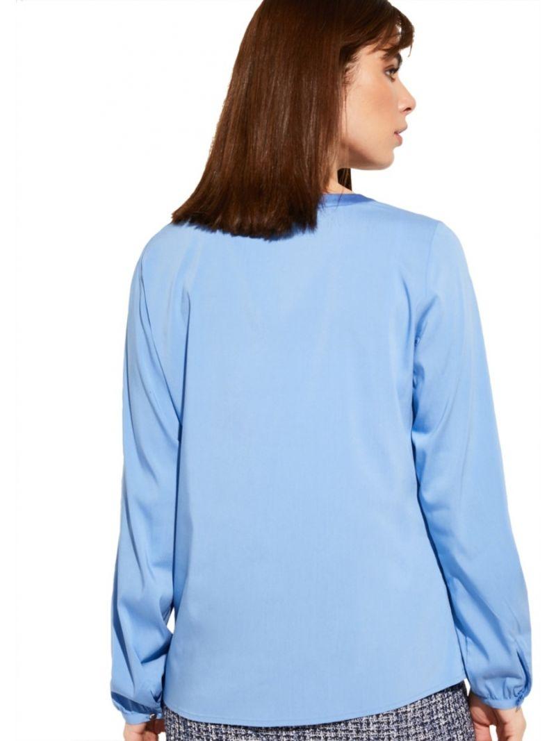 Poplin Blouse met V-Hals - Lichtblauw